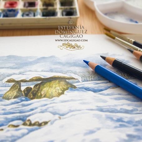 Dibujando un dolmen en la nieve